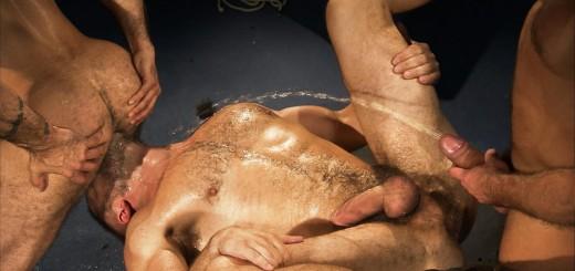 Pissing Pigs: Dirk Caber, Mack Manus and Alessio Romero